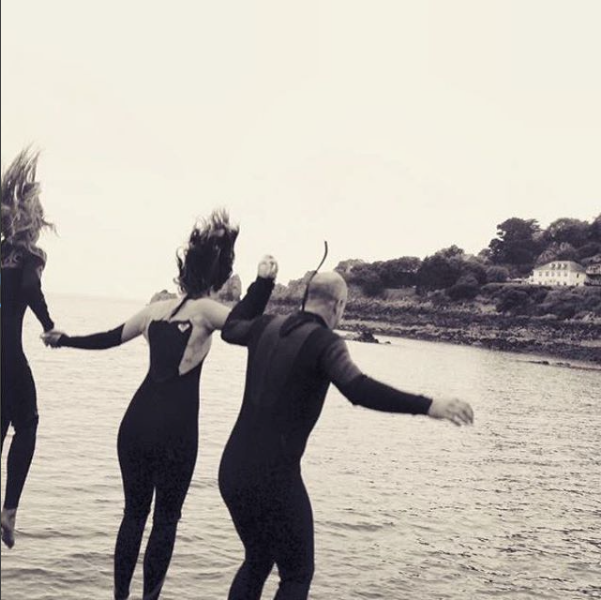 Taking the plunge at St Brelade's Bay